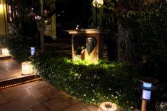 Verscheidene lantaarns verlichten de struiken, waarop de kleine witte bloemen bloeien Een olifants hoofdbeeldhouwwerk versiert de royalty-vrije stock foto