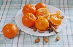 Verscheidene mandarins liggen op een witte schotel Royalty-vrije Stock Foto