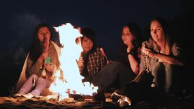 Verscheidene meisjes zitten door de brand bij nacht en gebraden gerechtworsten Bespreek en leid het gesprek Op een campagne zijn  stock videobeelden