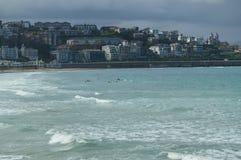 Verscheidene Mensen die Kajak op het Strand van La Concha In San Sebastian uitoefenen De Aard van de sportreis stock foto