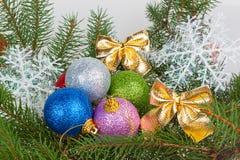 Verscheidene multicolored Kerstmisballen op de boom vertakt zich Stock Foto's