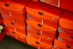 Verscheidene Nike-schoendozen royalty-vrije stock afbeeldingen