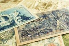 Verscheidene oude bankbiljetten Stock Foto's