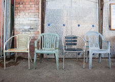 Verscheidene oude stoelen Royalty-vrije Stock Foto