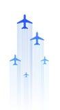 Verscheidene passagiersvliegtuigen Stock Foto's