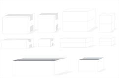 Verscheidene rangschikken en vorm van dozen Stock Afbeelding