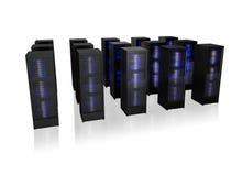 Verscheidene rijen van serverrekken Stock Foto's