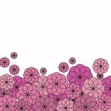 Verscheidene roze bloemen op witte achtergrond Royalty-vrije Stock Fotografie