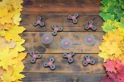 Verscheidene spinners onder de vele vergelende gevallen de herfstbladeren op de achtergrondoppervlakte van natuurlijke houten raa royalty-vrije stock afbeelding