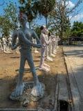 verscheidene standbeelden van de standbeelden van Boedha posturesimulate van slechte peopl Stock Afbeeldingen