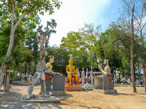 verscheidene standbeelden van de standbeelden van Boedha posturesimulate van slechte peopl Stock Afbeelding