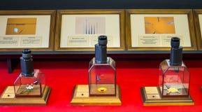 Verscheidene van ooglenzen met de tentoongestelde voorwerpen bij het Museum van Miniaturen` Russisch Lid van de linkervleugel ` Stock Foto