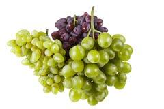 Verscheidene verscheidenheden van rijpe druiven op een witte achtergrond Stock Foto's