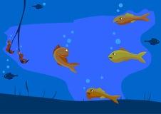 Verscheidene vissen kwade mooie vissen en maken tot het Popasna op de haak van de visser stock illustratie