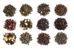 12 verscheidenheden van thee Stock Foto's