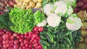 Verscheidenheden van verschillende verse vruchten en groenten, komkommers, tomaten, kool, peren, appelen, greens, uien stock videobeelden