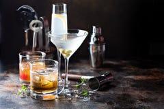 Verscheidenheid van alcoholische cocktails royalty-vrije stock afbeelding