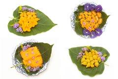 Verscheidenheid van Aziatisch die dessert, van boon-deeg, de zachte toffeebedelaars wordt gemaakt van het eijuk Royalty-vrije Stock Foto's
