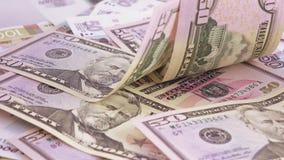Verscheidenheid van bankbiljetten van roebels en dollars stock footage