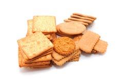 Verscheidenheid van Cracker en koekje stock foto
