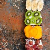 Verscheidenheid van de toosts van het roggebrood met vruchten De kiwi van de banaandadelpruim stock foto's