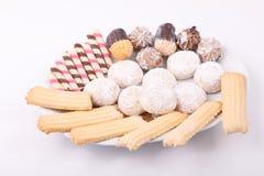 Verscheidenheid van desserts stock afbeelding