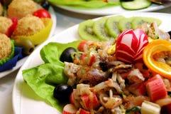 Verscheidenheid van exotische voedsel en vruchten Stock Foto's