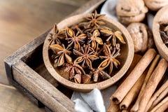Verscheidenheid van Kerstmisingrediënten van Kruidenanise stars cinnamone sticks nuts voor Cake hierboven Stock Foto