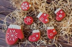 Verscheidenheid van Kerstmispeperkoek in vorm van ballenlaarzen, vuisthandschoenen Stock Afbeeldingen