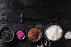 Verscheidenheid van kleurrijke rijst Stock Foto's