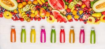 Verscheidenheid van kleurrijke smoothies en sappendranken in flessen met diverse verse organische vruchten en besseningrediënten  stock afbeelding