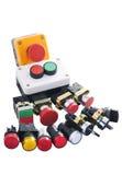 Verscheidenheid van knopen, signaal en schakelaarcomponenten Stock Fotografie