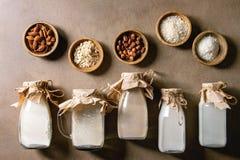 Verscheidenheid van non-dairy melk royalty-vrije stock afbeeldingen