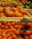 Verscheidenheid van rode rijpe zoete tomaten stock fotografie