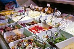 Verscheidenheid van salades en veggies Royalty-vrije Stock Foto