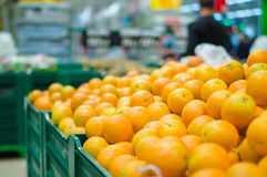 Verscheidenheid van sinaasappelen op dozen in supermarkt royalty-vrije stock foto's