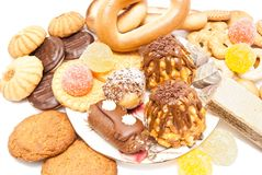 Verscheidenheid van snoepjes op wit Royalty-vrije Stock Fotografie