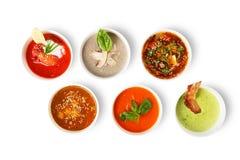 Verscheidenheid van soepen van verschillende keukens royalty-vrije stock afbeeldingen
