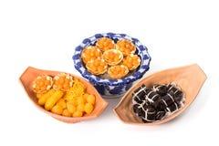 Verscheidenheid van Thaise desserts, Khanom Thai Stock Afbeelding