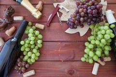Verscheidenheid van wijn en verse druiven Stock Foto