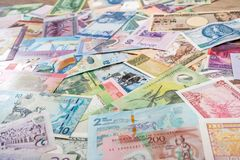 Verscheidenheidsmunt en bankbiljetten van wereld Royalty-vrije Stock Afbeelding