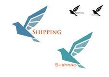 Verschepend embleem met vliegende vogel Stock Afbeelding
