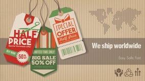 Verschepende banner wereldwijd stock illustratie