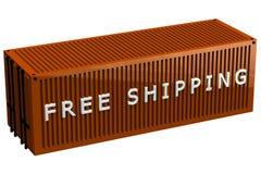 Verschepende container met woorden het vrije verschepen Stock Afbeeldingen