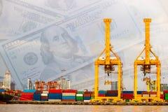 Verschepende industriële handelshaven Kraanbrug, geld Stock Foto's