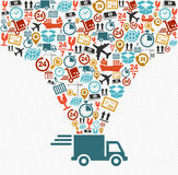 Verschepende pictogrammen geplaatst het Snelle zieke concept van de leveringsvrachtwagen Stock Afbeelding