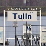 Verschepende pijler bij de stad van Tulln Stock Fotografie