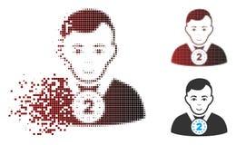 Verscheurd de Sportmanpictogram van Pixel Halftone 2Nd Prizer stock illustratie
