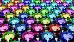 Verschieden farbige Aufnahme Bell in einem festen sogar Gitter auf einer einfachen Betondecke Lizenzfreies Stockfoto
