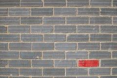 Verschiedenartigkeit, Grey Wall mit einem roten Backstein lizenzfreies stockbild
